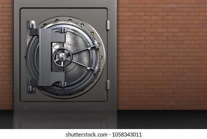 3d illustration of metal safe with steel door over red bricks background