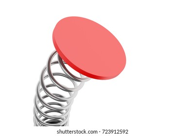 3d illustration. Metal steel spring moving. Isolated white background