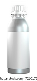 3D Illustration of a metal twist cap bottle with a blank tag, isolated against a white background