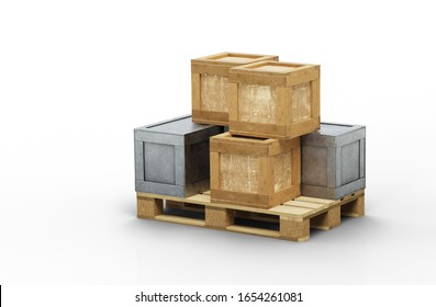 3D illustration of Metal and Wood transportation boxes with different sizes stacked on a wood pallet with a white background