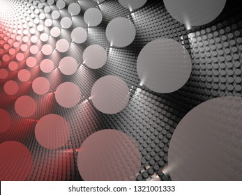 3d Illustration - Metallic background resource, red and gray colored abstract geometric shapes. Textured repeating fractal patterns, symmetrical circles, light and shadows giving a 3d effect.