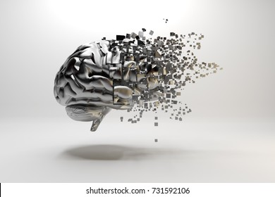3D illustration. A metallic brain floating on a white background and  breaking down into small particles.