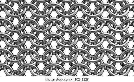 3D illustration of metallic silver hauberk from whole rings on a white background close up.