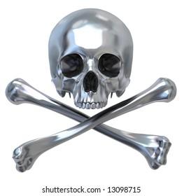 3d illustration of metallic skull with bones