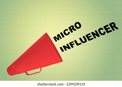 3D illustration of MICRO INFLUENCER title flowing from a loudspeaker