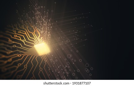 3D illustration of microchip connections, electric pulses and binary codes.