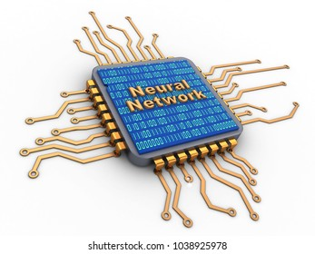 3d illustration of microchip over white background with neural network sign and binary code inside