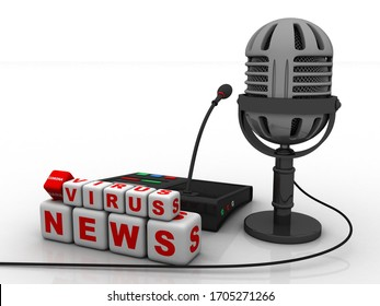 3d illustration microphone announcement corona virus