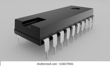 3D illustration microprocessor