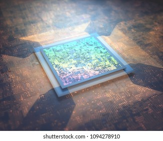 3D illustration. Microprocessor, microchip connection to circuit board. Abstract concept image, macro and nano technology.