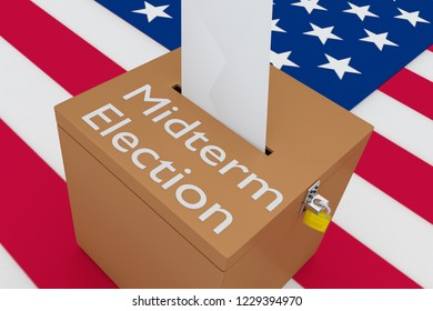 3D illustration of Midterm Election script on a ballot box, with US flag as a background.