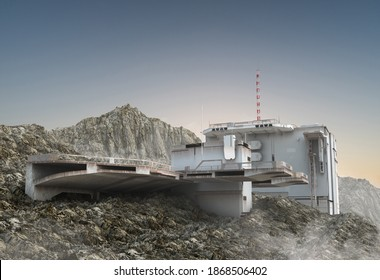 3D Illustration of a military base, with aircraft landing structures, a research bunker with communication antennas and observation decks, for space exploration games and science fiction backgrounds.