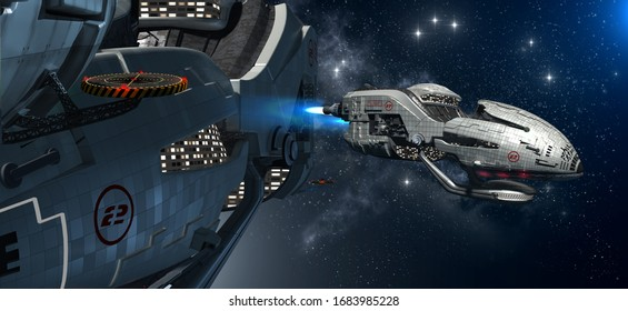 3D illustration of a military space station with an extravehicular activity for futuristic interstellar travel, video games, or science fiction backgrounds.