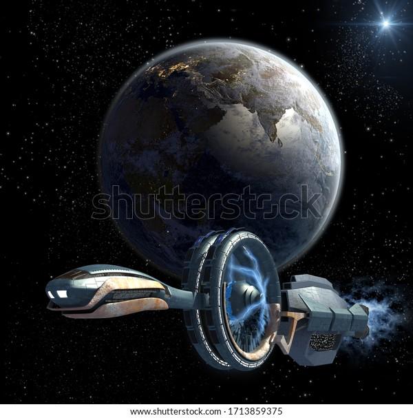 3d-illustration-military-spaceship-leavi