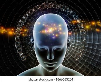 3D Illustration. Mind Halo series. Female head against background of radiating abstract elements on the subject of thinking, brain activity, artificial intelligence, mental resources and inner world.
