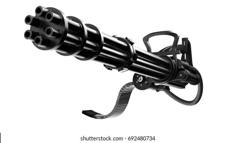 3d illustration Minigun on a white background