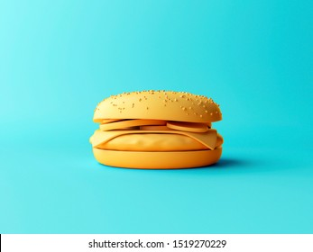 3D Illustration. Minimal concept of hamburger isolated with space for text for designers