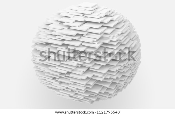 3d illustration minimalism sphere in cube form, white layer globe geometry minimal concept