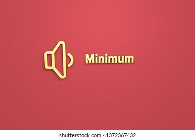 3D illustration of Minimum, yellow color and yellow text with red background.
