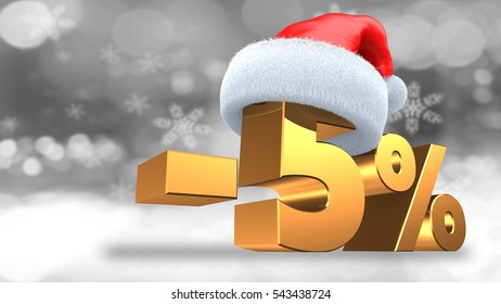 3d illustration of minus5 percent discount over winter background