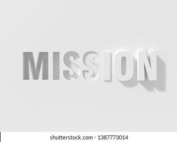 3D Illustration of MISSION 3D Text