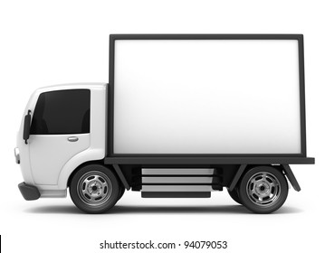3D Illustration of a Mobile Billboard on Storage Truck