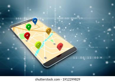 3d illustration mobile GPS navigation concept