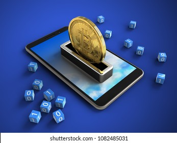 3d illustration of mobile phone over blue background with binary cubes and bitcoin