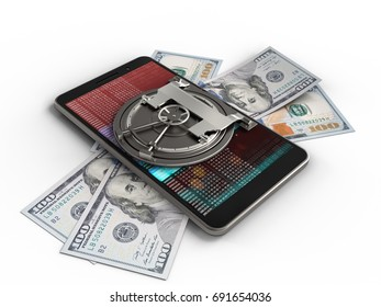 3d illustration of mobile phone over white background with banknotes and vault door