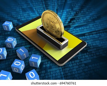 3d illustration of mobile phone over digital background with binary cubes and bitcoin