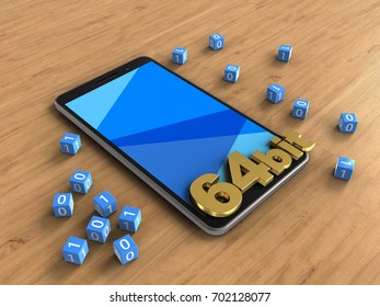 3d illustration of mobile phone over wooden background with binary cubes and 64 bit sign