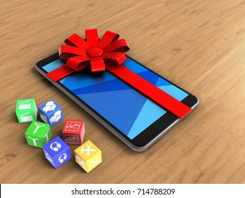 3d illustration of mobile phone over wooden background with cubes and gift ribbon