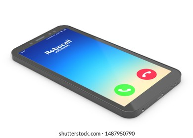 3d illustration: mobile phone with robot calling.   The machine calls customers with annoying ads, dials the phone number randomly. Spambot, robocalls concept.