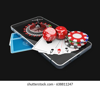3d Illustration of Mobile phone with Roulette, play card, dice and chips, Online casino concept