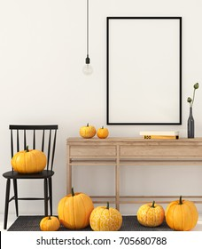 3D illustration. Mock up interior with autumn decorations for Halloween