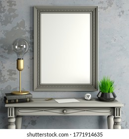 3d illustration. Mock-up banner paintings in a classic interior. Background blank canvas or sheet. Dressing table with a mirror