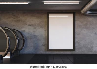 3D Illustration. Mockup of blank vertical billboard poster on subway station. Adversiting and brandindg concept.