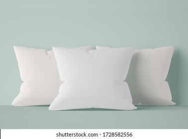 3D Illustration. Mockup of blank white soft square pillows isolated on light green background. Comfort bed cushions.