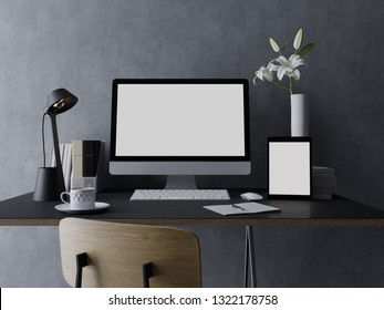 3d illustration of mockup design template of empty white screen for your web design preview on modern designer workspace with workstation and tablet on sleek stylish desk and grey wall in front view