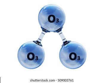 3D illustration of model o ozone molecule