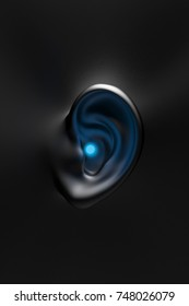 3D illustration. a 3D model of a white ear with a bright light coming out of it. Sound concept.