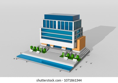 3D illustration of moder building