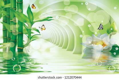 3d illustration, moderate green tunnel above the water, green bamboo, large white flower, soap bubbles, butterflies