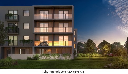 3d illustration of a modern apartment building for young families, 3d rendering