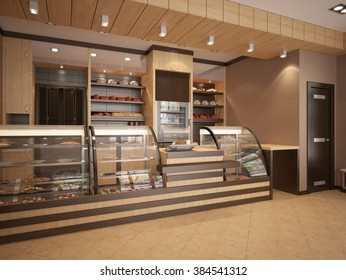 3d illustration of Modern bakery interior