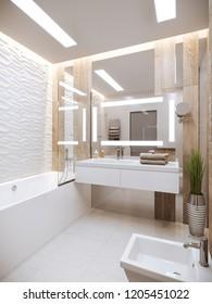 3d illustration modern bathroom, design, interior