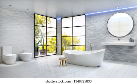 3D illustration of modern bathroom with rounded bathtub. Ceramic sink and round mirror with textured sand dune tiles. Rough white floor tiles. Bath next to windows with trees in background.