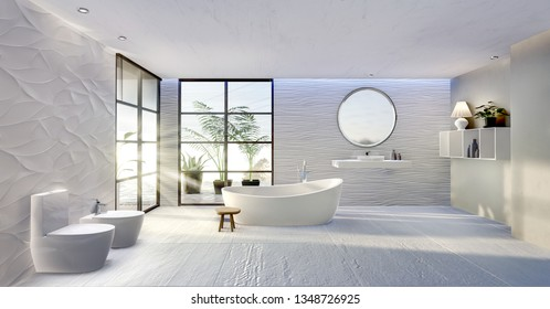 3D illustration of modern bathroom with rounded bathtub. Ceramic sink and round mirror with textured sand dune tiles. Rough white floor tiles. Bath next to windows with with sunlight beams.