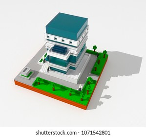 3D illustration of modern building