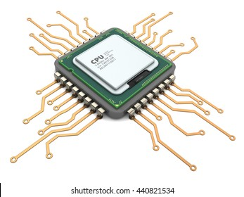 3d illustration of modern computer chip processor over white